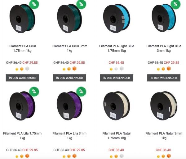 PLA Filament für deinen 3D Drucker - 3DWare Shop Schweiz